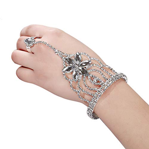 - Yilanair Indian Crystal Hand Harness Slave Bracelet Chain Link Bangles Finger Ring Set (White)