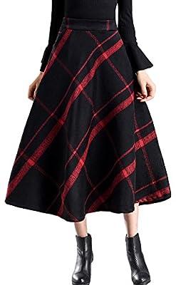 Vocni Women Plaid A-Line Flared Lined Vintage Elastic Waist Wool Blend Long Skirt