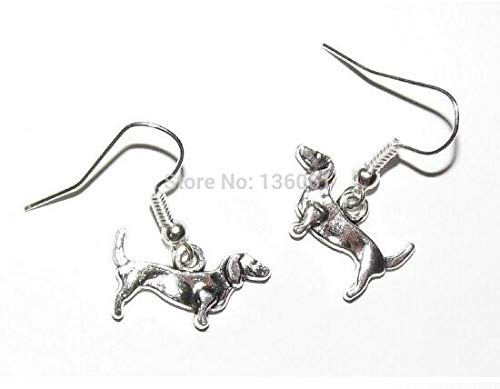 Scissors Dog Musical Note Angel Wings Reindeer Bird Acorn Drop Dangle Earrings Vintage Silver for Women (Pet Dog) ()