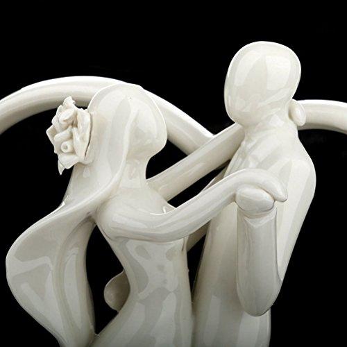 ROSENICE Wedding Cake Topper Dance Couple Figurine Hug Ceramic Bride and Groom Decor