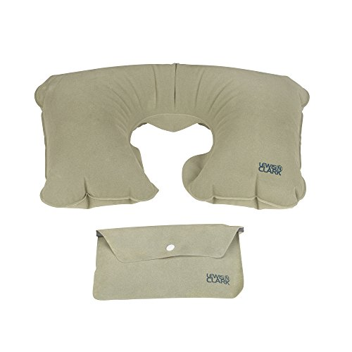 41sA0d53M9L - Lewis N. Clark Original Neckrest Inflatable Pillow, Waterproof Neck Pillow for Neck Support at the Beach, Pool + Airport Travel with Fully Adjustable Firmness and Included Carrying Pouch, Grey