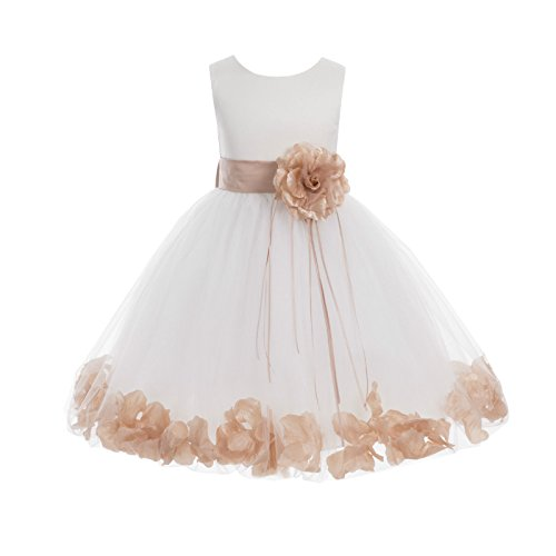 Ivory Tulle Floral Rose Petals Junior Flower Girl Dress Christening Dress 007 6 (Christening Designer Gowns)