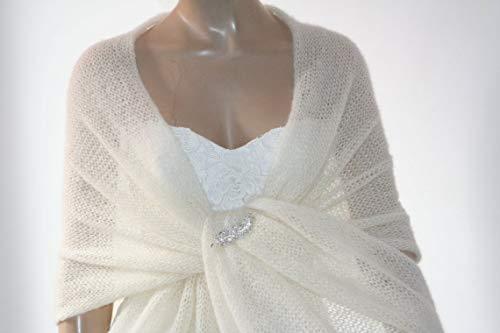 /Écharpes Cape /Étole Ivoire Ch/âle Femme de Mariage Echarpe Extralarge Ch/âle de mariage ivoire tricot-main