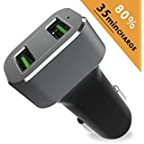 Car Charger, BrexLink 6A/36W Dual USB Ports Fast Car Charger Adapter, 2 Port Quick Cell Phone Car Accessories Compatible w. Samsung Galaxy S9 S8 Plus Note 9 8 S7, iPhone Xs XS Max XR X 8 Plus 7 6S 6