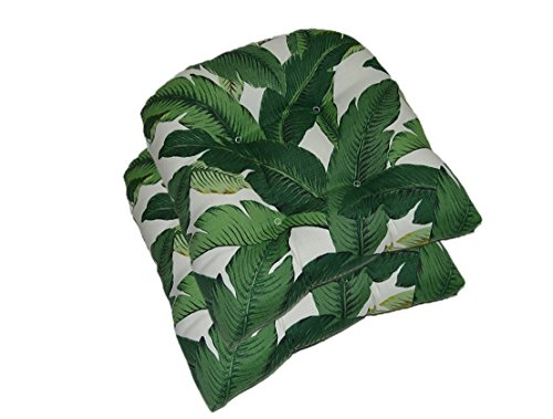 RSH DECOR Set of 2 - Universal Tufted U-Shape Cushions for Wicker Chair Seat - Tommy Bahama Swaying Palms Aloe ~ Green Tropical Palm Leaf