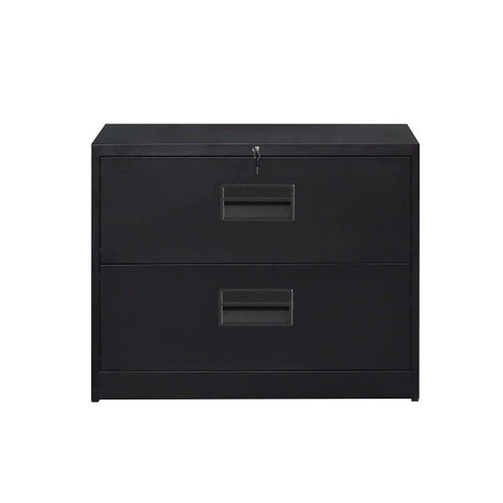 YXHUI Side File Cabinet, Anti-tilt Structure, Office Locking Design (2 Drawers, Black) Good Mood, Good Life (Color : Black)