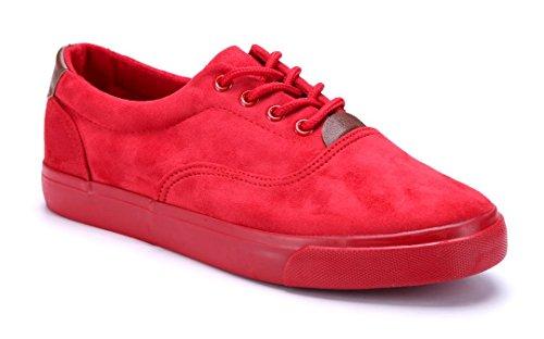 Schuhtempel24 Damen Schuhe Low Sneaker Flach Rot