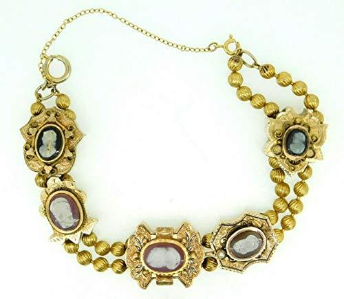 Genuine Natural Stone Cameo Victorian XL Gold Slide Bracelet (#J4362)