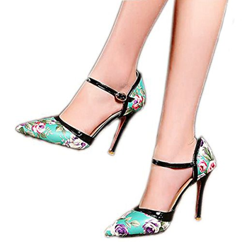 High Concise A Buckle Stiletto Ankle Floral Shoes Blue Women's Strap Elegant Pumps Toe VIMISAOI Heel Pointy nI65Hx0q