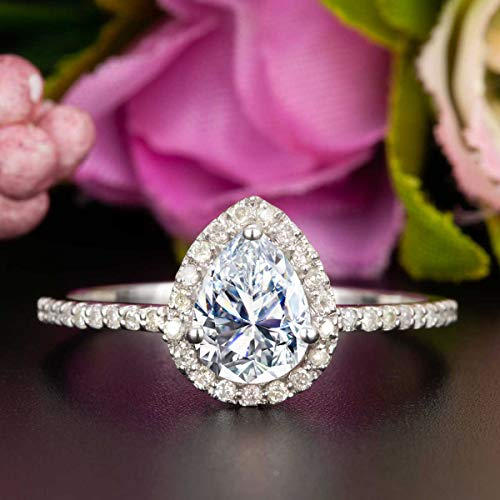 1.50 Carat Pear Shape Moissanite and Diamond Halo Engagement Ring In White Gold