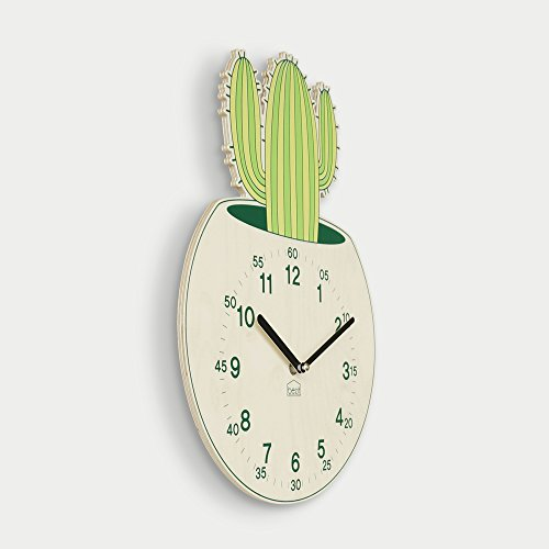 BEZIT Ticking, Silent 11-Inch Wall Clock – Decorative, Modern, Clean, Cute, Kid-Friendly Design For Indoor, Office, Home, Baby Room (Green Cactus)
