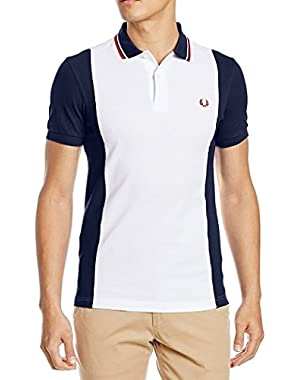 Men´s polo shirt white blue Fred Perry panelled