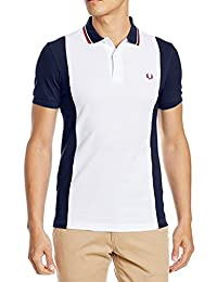 Fred Perry - Men´s polo shirt white blue Fred Perry panelled