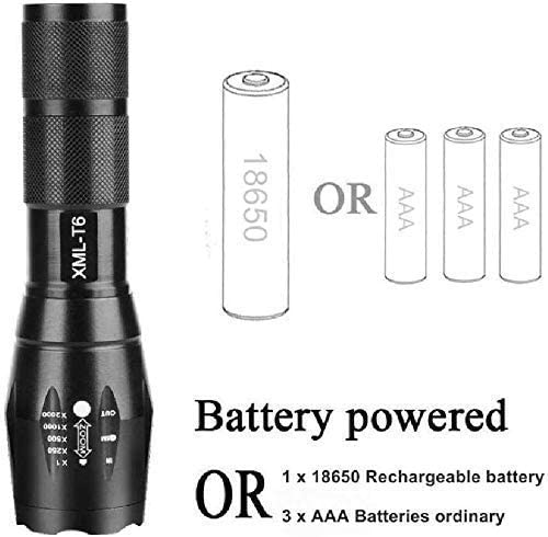 DYB Mini LED Torch Light Flashlight,Waterproof Most Powerful LED Flashlight,High Power 5 Mode L T6 L2 V6 Zoomable Rechargeable Focus Torch 1 * 18650 or 3*AAA 92 T6-Low Brightness