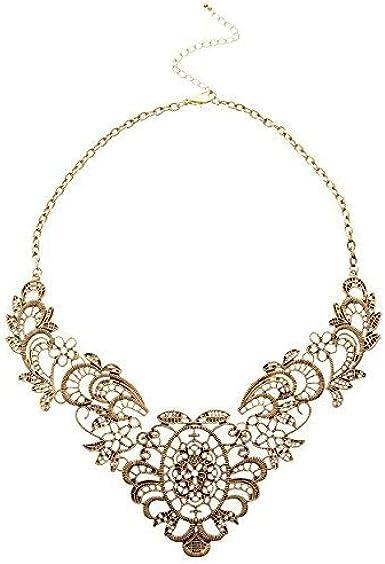 Collar de Encaje Antiguo Chapado en Oro con Colgante Corto de aleación Hueca Chapado en Oro