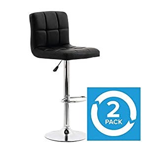 Wido Black/White Leather Cuban Barstools Gas Lift Bar Stool Breakfast Kitchen – 2 Pack (Black)