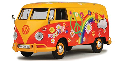 Motor Max 1:24 W/B Volkswagen Type 2 T1 Delivery Van with Flower Power Design, Yellow/Orange ()