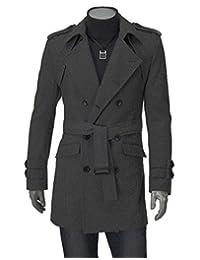 LemonGirl Mens Fashionable Double Breasted Pea Coat Slim Fit Long Jacket Overcoat