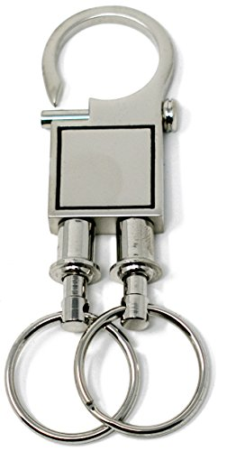 Double Silver Square Quick Release, Pull Apart Valet Keychain Accessory Detachable for Convenience (Break Chain Apart)