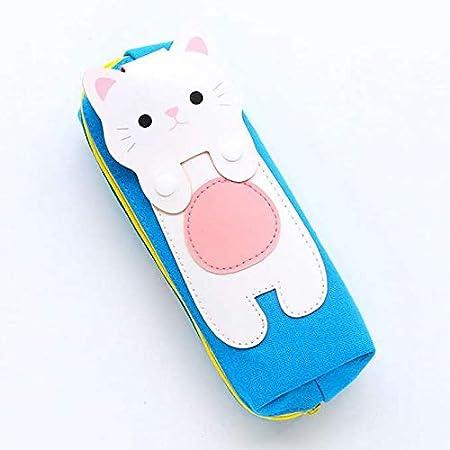 Estuche para lápices azul con gato blanco: Amazon.es: Hogar