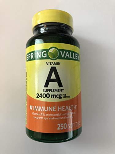 Spring Valley – Vitamin A SUPPLEMENT 2400MCG 250 Softgels