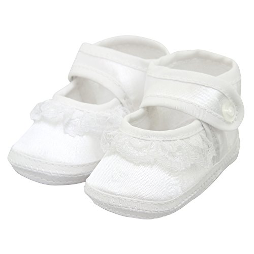 King Bear Baby Girl's Satin Christening Baptism prewalker Shoes /slippers- mary jane style white size 3-6 months