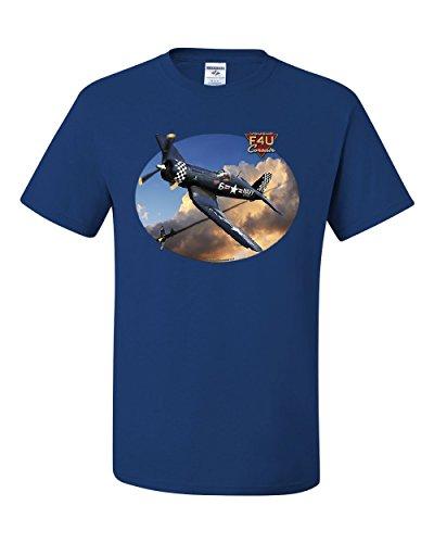 Chance Vought F4U Corsair T-Shirt American Fighter Aircraft WW2 Tee Shirt Royal Blue 3XL