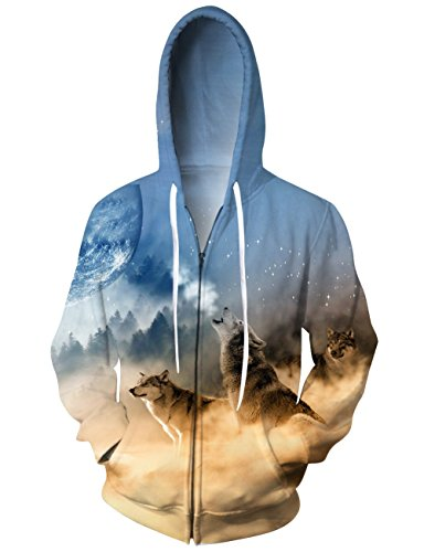Idgreatim Personality Zipper Wolves Hoodie 3D Animal Printed Hooded Sweatshirts With Big Pockets Large
