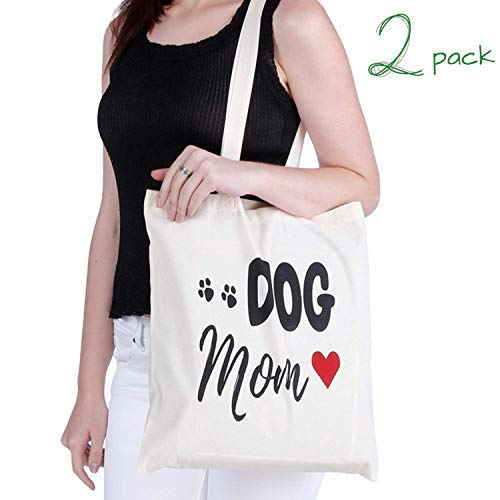 Greenmile Set of 2 Dog Mom Canvas Tote Bags Shoulder Bags Grocery Bags Reusable Mutli-Purpose Durable Washable Beach Bags for Crafting, Decorating, Shopping, DIY, Promotions - 15x16.5 Inches (Dog Mom)
