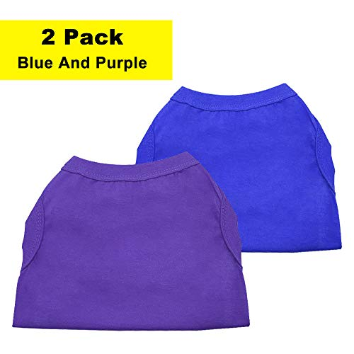Chol&Vivi Shirt for Cat Kitten Puppy, Cat T-Shirt Clothes Soft and Thin, 2pcs Blank Shirt Clothes Fit for Extra Small Medium Large Extra Large Size Cat Puppy, Extra Small Size, Blue and Purple