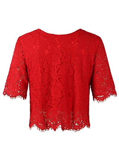 (Women's Short Sleeve Sexy Sheer Blouse Mesh Lace Crop Top Red S)