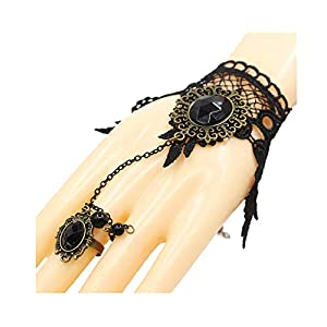 UEUC Punk Black Lace Gothic Lolita Victorian Choker Beads Chain Pendant Necklace Earring Bracelet for Halloween and Christmas Party