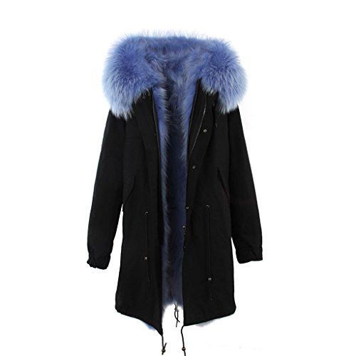 Parka XXL Cuello de auténtica piel de 100% Pelo Real Chaqueta Abrigo Negro Caqui 3variantes negro/azul