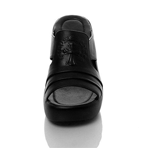 Black MINIVOG Summer MINIVOG Womens Mules Wedge Shoe Leather Sole Womens 4755qTwz