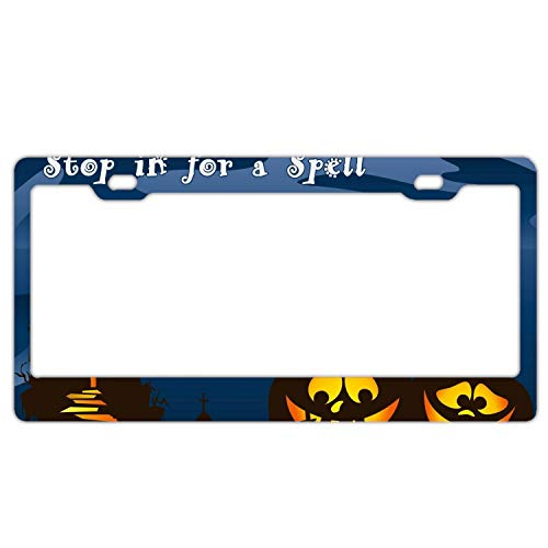 (Halloween Greetings Car Vehicle License Plate Metal Tin Sign Plaque)
