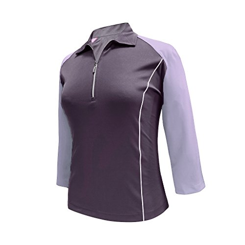 Monterey Club Ladies Dry Swing 3/4 Sleeve Color Block Zip up Polo #2371 (Navy/Pastel Lilac, X-Large)
