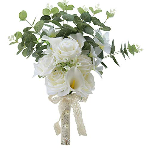 Mltsmm Artificial Flower Rose Calla Lily Bridal Bouquet Ivory Hollow Lace Pearl Accessories