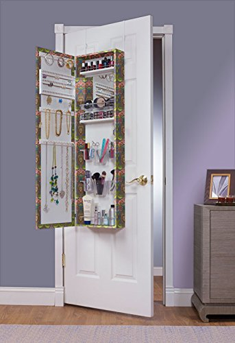 Mirrotek EVA48INDIA Over The Door combination Jewelry and Makeup Armoire, India finish by Mirrotek