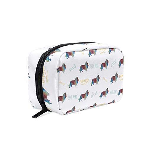 (Travel Makeup Pouch Rough Collie Long Haired Dog- Cosmetic Bags Organizer Ladies Toiletry Case for Women Girls)