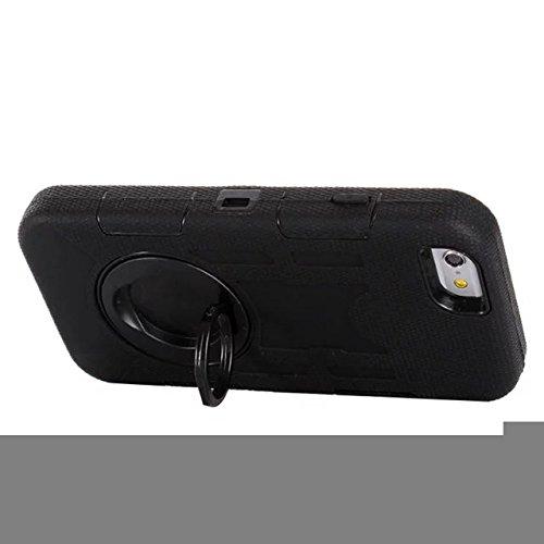 """Iphone 6 Coque Plus,Iphone 6S plus 5.5 """"Coque,Lantier 3 en 1 en caoutchouc dur + Hybrid PC Combo robuste avec Annulaire Béquille Couvercle de protection pour Apple Iphone 6 Plus/6S plus 5.5"""" Noir"""