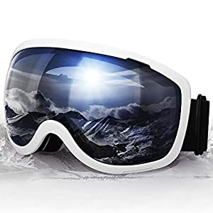 Elegear Lunettes de Ski Masque Snowboard Lunettes à Miroir Anti-Buée Ski Goggles pour Homm Femme Motoneige Unisexe Lentille d'anti-éblouissement, UV 400 Protection