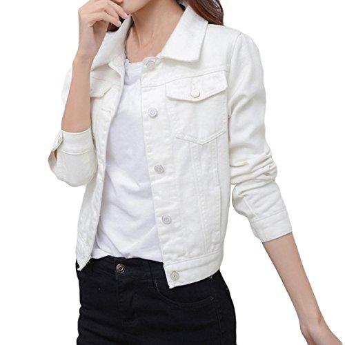 Di Ritagliata Jeans Sue Jeans Dotate Joe Di Strappato amp; Lunga Top Donne Giacca Lavato Manica Bianco Xtqw7xzIOn