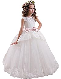 Yuanlu Floor Length Lace Princess Flower Girls Dresses First Communion Dress