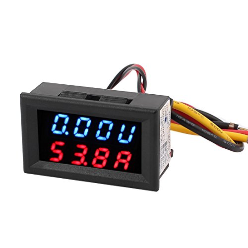 uxcell DC 0-200V 100A Blue Red LED Dual Digital Panel Voltmeter Ammeter Meter