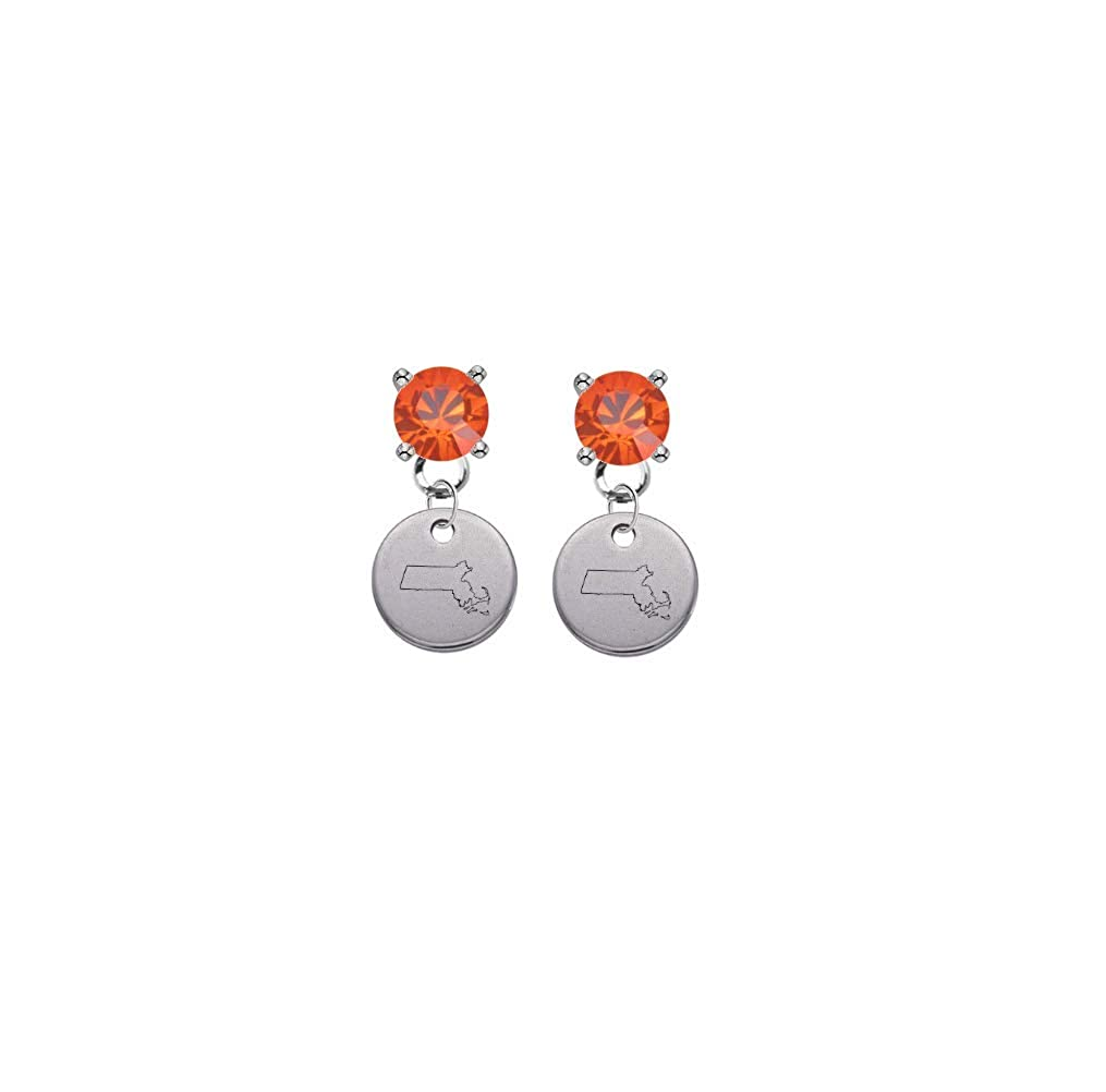 Massachucettes State Silhouette Orange Crystal Stud Post Dangle Earrings