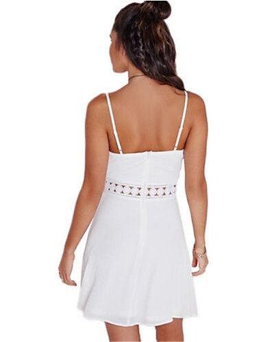 PU&PU Robe Aux femmes Ample Street Chic,Couleur Pleine A Bretelles Au dessus du genou Nylon , white-3xl , white-3xl