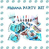 Moana Birthday Party Supplies and Decorations - 125 Items Pack For 8 Guests - 2 BONUS Gifts: The Necklace Heart of Te Fiti And 8 Pack Pinback Badges