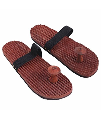 Wooden-Relaxing-Acupressure-Footfeet-Massager-Slippers-Khadau-Type-for-Good-Health-Reflexology-Sandals-W-40015-By-Affaires
