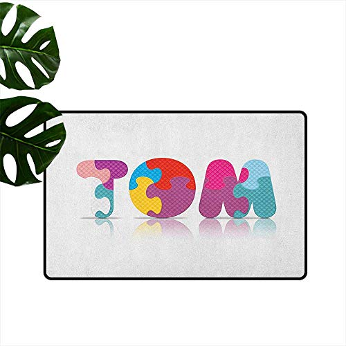 RenteriaDecor Tom,Doormat Children Newborn Themed Colorful Boy Name Design Abstract Educational Puzzle Pattern 18
