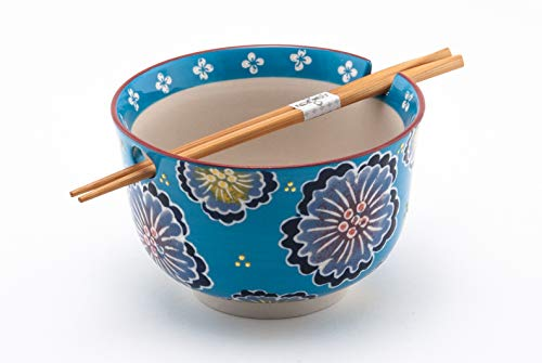 (Hinomaru Collection Multi Purpose Ramen Udon Soba Pho Noodle Donburi Rice Tayo Bowl with Chopsticks Gift Set 6.25 Inch Diameter (Blue)